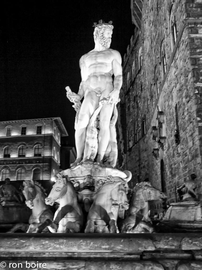 Statue of Neptune on the fountain on Piazza della Signoria in Florence, Italy.