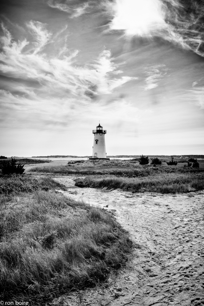 Edgartown Lighthouse Black and White by Ron Boire